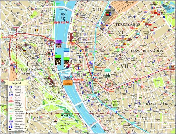 Harta turistică Budapesta