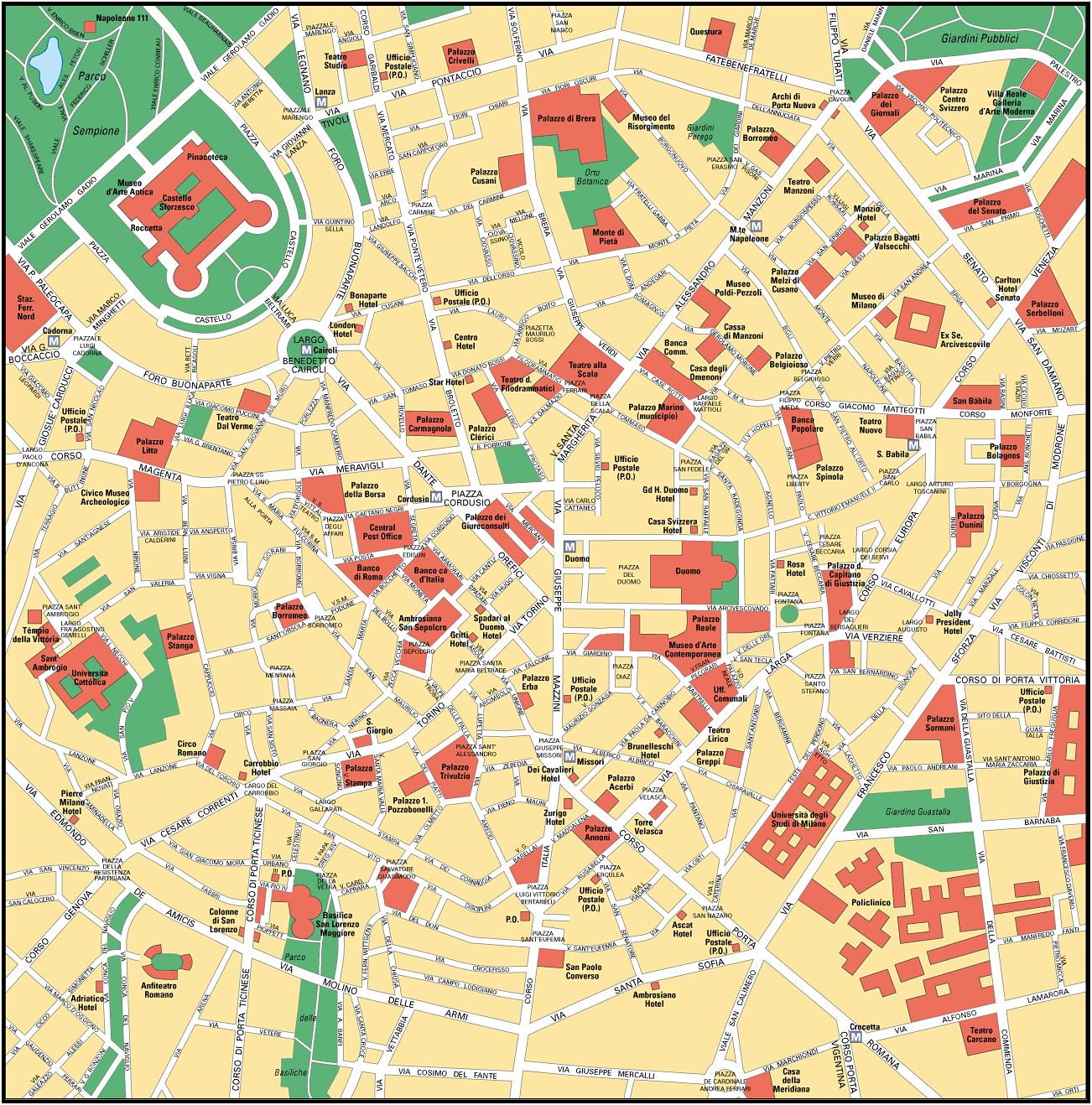 Hartă tursitica Milano