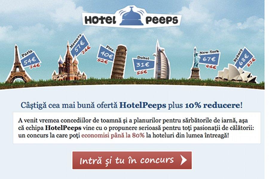 Reducere de 80% la cazare prin HotelPeeps