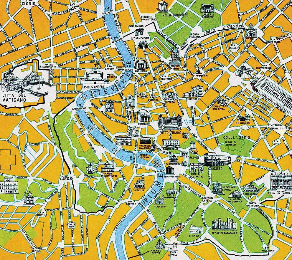 Hartă turistică Roma