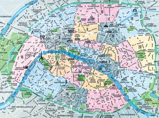 Hartă turistică a Parisului