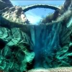 Podul Raului Verzasca, vazut de sub apa