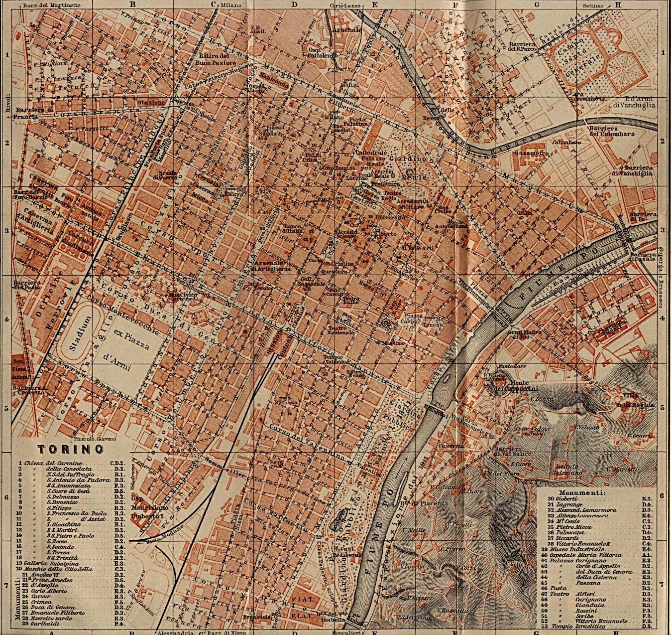 Hartă turistică Torino