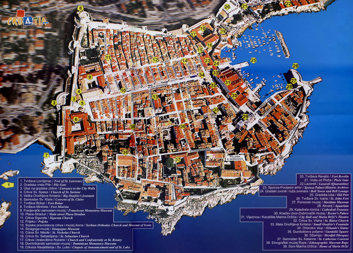 Hartă turistică Dubrovnik