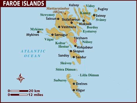 Hartă turistică Insulele Feroe